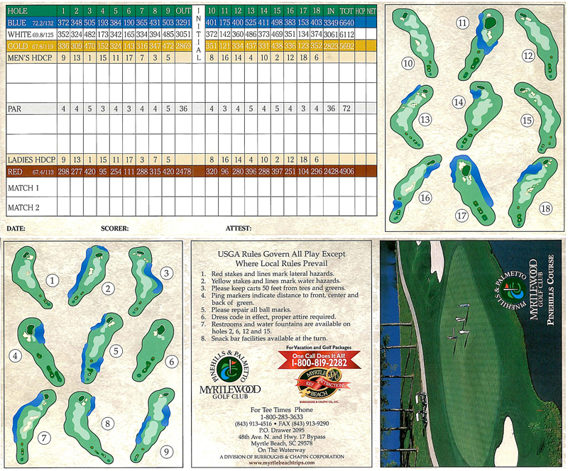 River Club Golf Myrtle Beach Scorecard